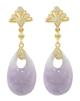 Lagos 18k Diamond & Lavender Jade Earrings