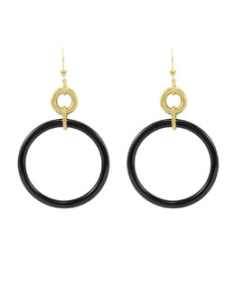 Lagos 18k Black Agate Circle Drop Earrings