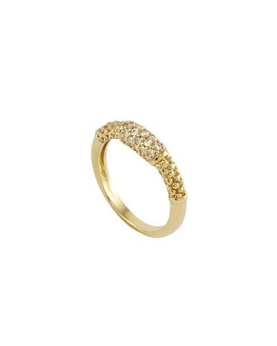 Lagos 18k Pave Diamond Caviar Ring