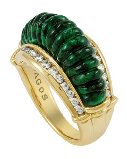 Lagos 18k Fluted Jade & Diamond Ring