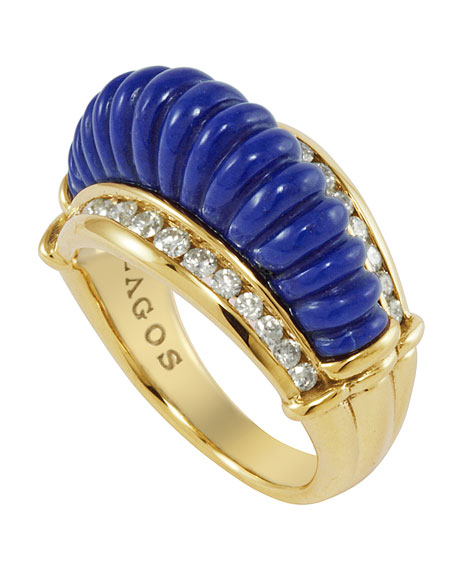 18k Fluted Lapis & Diamond Ring