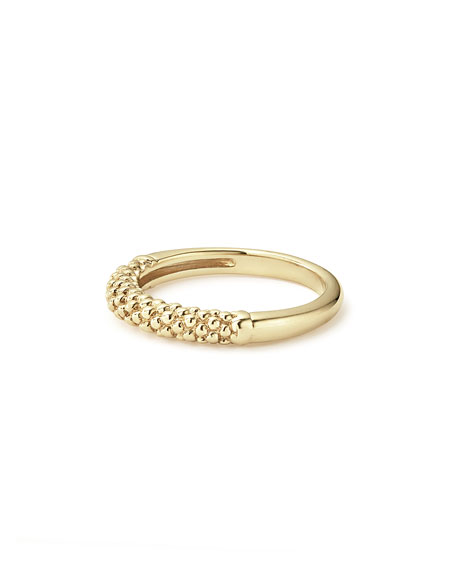 18k Caviar Beaded Ring, Size 7