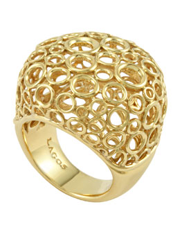 Lagos 18k Gold Circle Filigree Ring