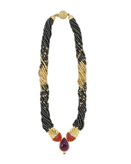 "Lagos 18k Gold & Hematite Beaded Necklace, 16""L"