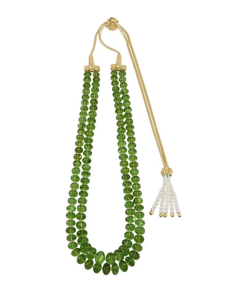 18k Pearl-Tasseled Peridot Necklace