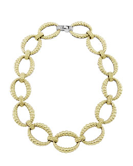Lagos Reversible 18k Gold/Sterling Silver Link Necklace