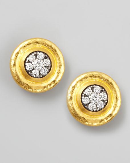Moonstruck Pave White Diamond Stud Earrings