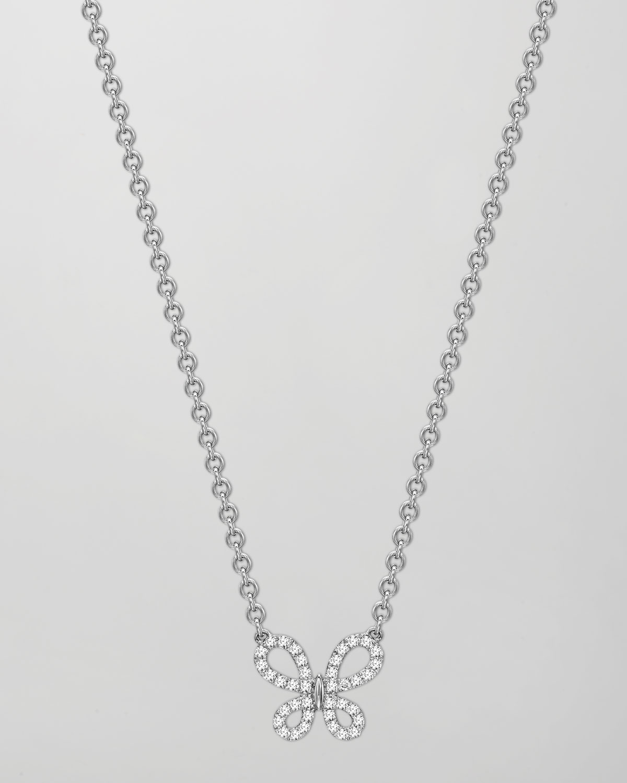 Eden 18k White Gold Diamond Single Butterfly Pendant Necklace