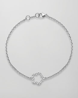 Kiki McDonough Eden 18k White Gold Diamond Single Flower Bracelet
