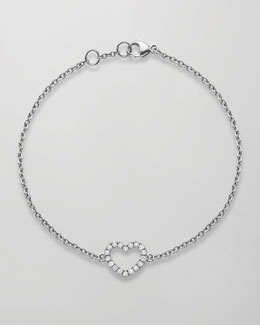Kiki McDonough Eden 18k White Gold Diamond Heart Bracelet