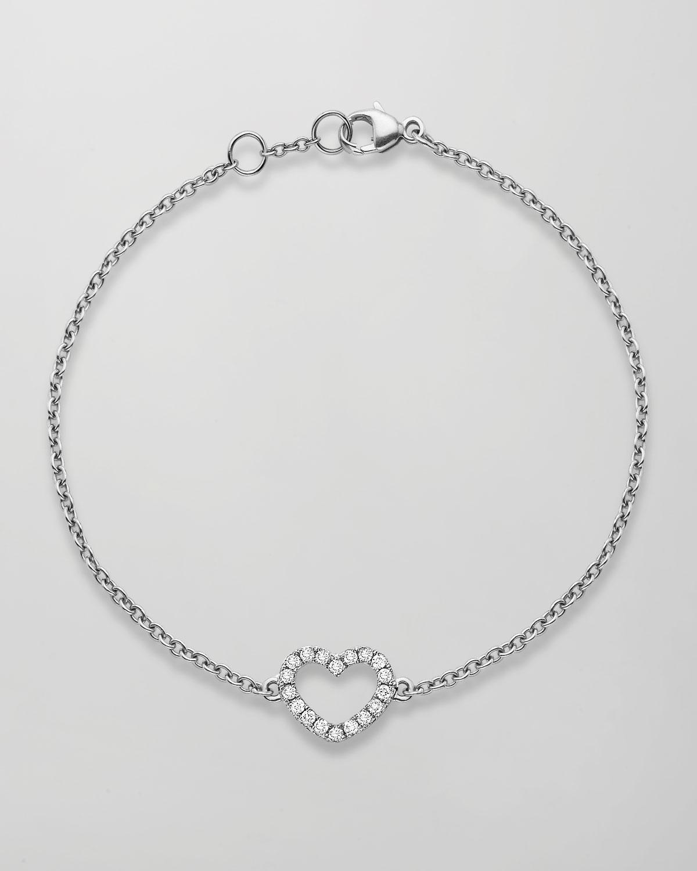 Eden 18k White Gold Diamond Heart Bracelet