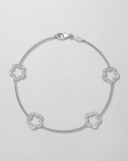 Kiki McDonough Eden 18k White Gold Diamond Four-Flower Bracelet
