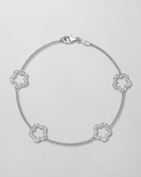 Eden 18k White Gold Diamond Four-Flower Bracelet
