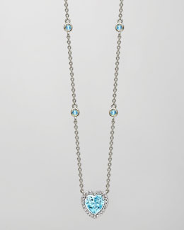 Kiki McDonough Grace 18k White Gold Blue Topaz Heart Pendant Necklace