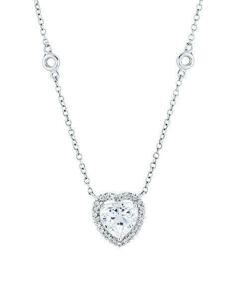 Grace 18k White Gold White Topaz Heart Pendant Necklace