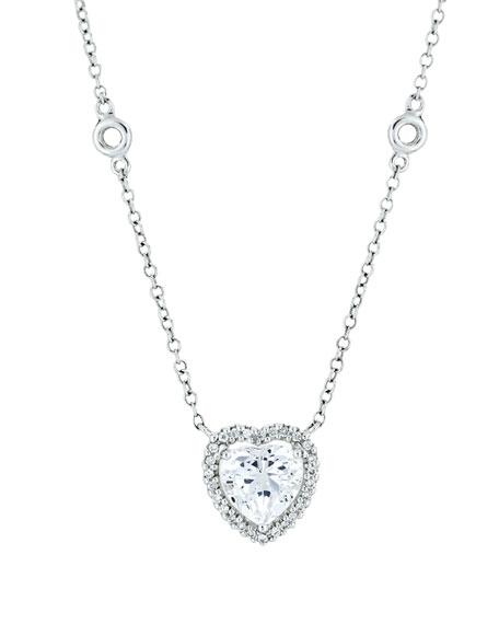 Kiki McDonough Grace 18k White Gold White Topaz Heart Pendant