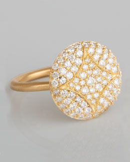 Jamie Wolf Aladdin 18k Pave Diamond Disc Ring, 5/8""