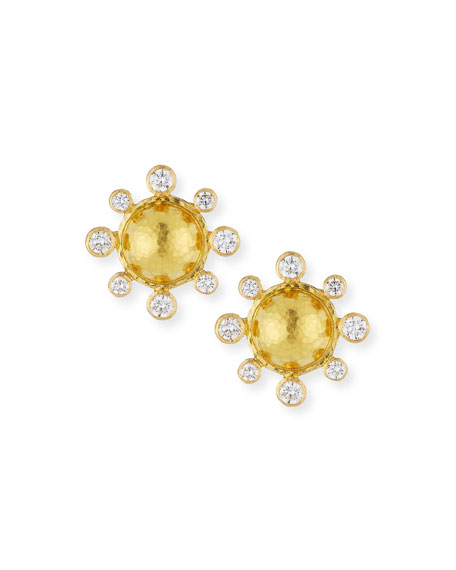 Elizabeth Locke Diamond-Detailed 19k Gold Dome Earrings