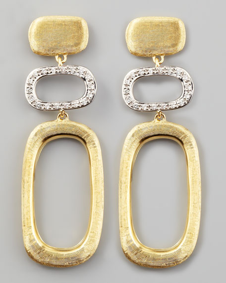 Murano 18k Brushed Gold & Diamond Earrings