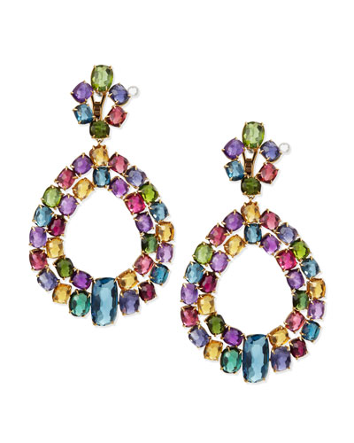 Murano 18k Multi-Stone Chandelier Earrings
