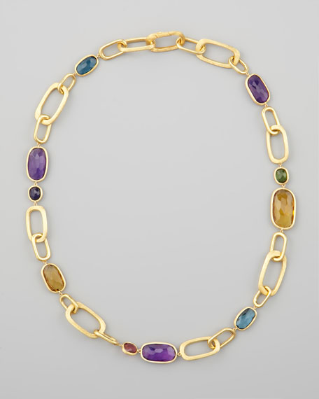 "Murano 18k Mixed-Stone Link Necklace, 20""L"