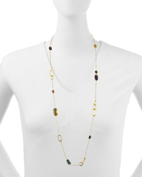 "Murano 18k Mixed-Stone Station Necklace, 36""L"