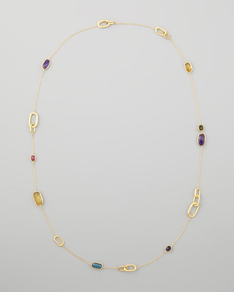 """Murano 18k Mixed-Stone Station Necklace, 36""""L"""