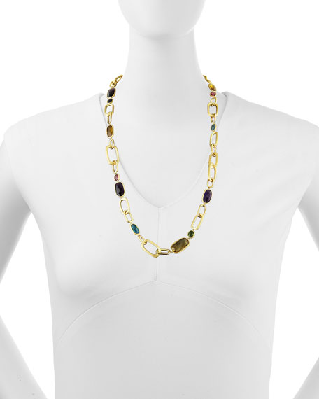 "Murano 18k Multi-Stone Large-Link Necklace, 27""L"