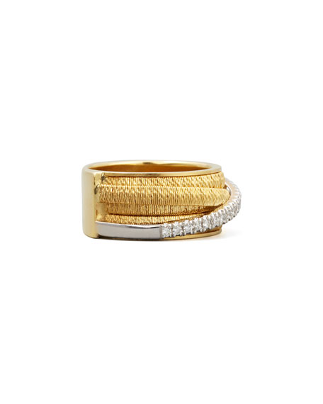 Diamond Cairo 18k Five-Strand Ring with Diamond Accent, Size 7