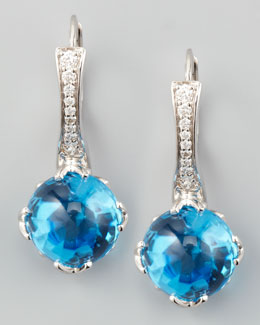 Frederic Sage Jelly Bean Round Blue Topaz & Diamond Earrings, 0.20 TCW