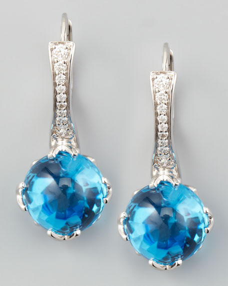 Jelly Bean Round Blue Topaz & Diamond Earrings, 0.20 TCW