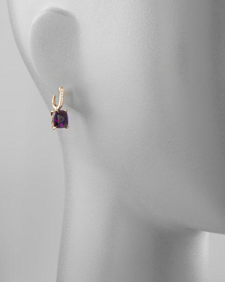 Jelly Bean Amethyst Cushion & Diamond Earrings, 0.16 TCW