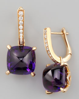 Frederic Sage Jelly Bean Amethyst Cushion & Diamond Earrings, 0.16 TCW
