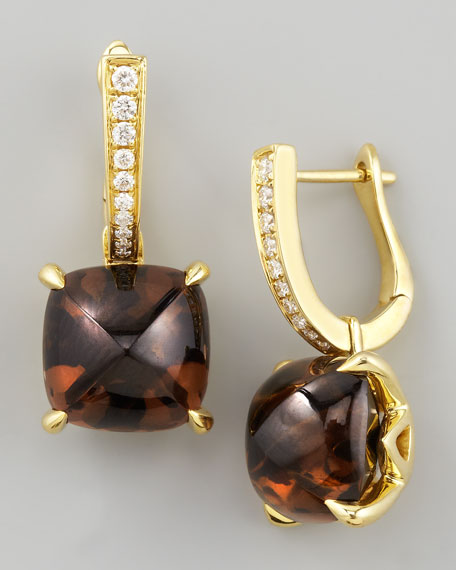 Jelly Bean Smoky Quartz & Diamond Drop Earrings, 0.16 TCW