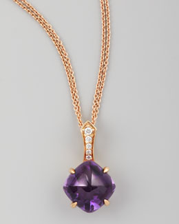 Frederic Sage Jelly Bean Round Amethyst & Diamond Pendant Necklace
