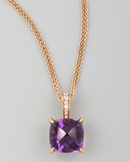 Frederic Sage Jelly Bean Amethyst Cushion & Diamond Pendant Necklace