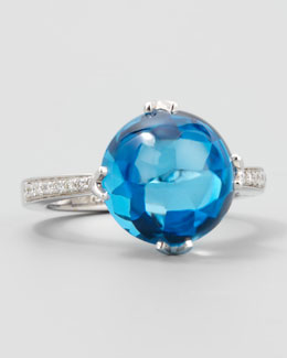 Frederic Sage White Jelly Bean Round Blue Topaz & Diamond Ring, 0.10 TCW