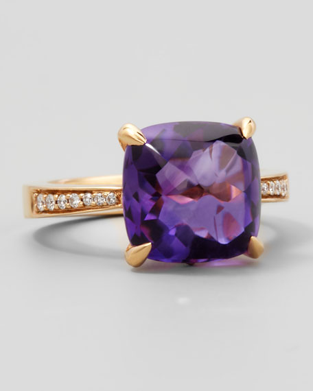 Jelly Bean Amethyst & Diamond Ring, 0.12 TCW