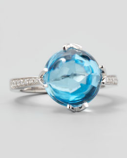 Frederic Sage White Jelly Bean Round Sky Blue Topaz & Diamond Ring, 0.12 TCW