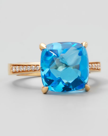 Rose Jelly Bean Blue Topaz Cushion & Diamond Ring, 0.10 TCW