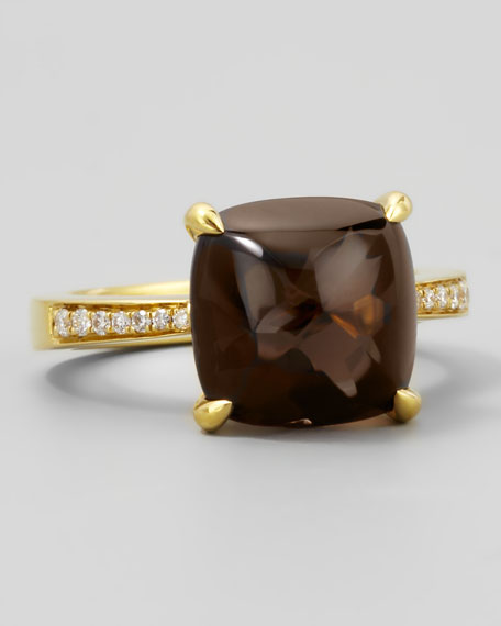 Jelly Bean Smoky Quartz & Diamond Ring, 0.11 TCW