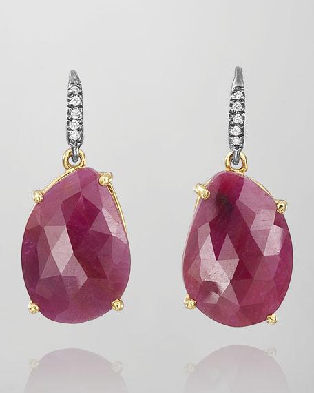 Joyce Ruby & Diamond Drop Earrings