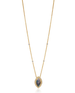 Lauren K Isabella Collection Marquise Labradorite & Diamond Necklace