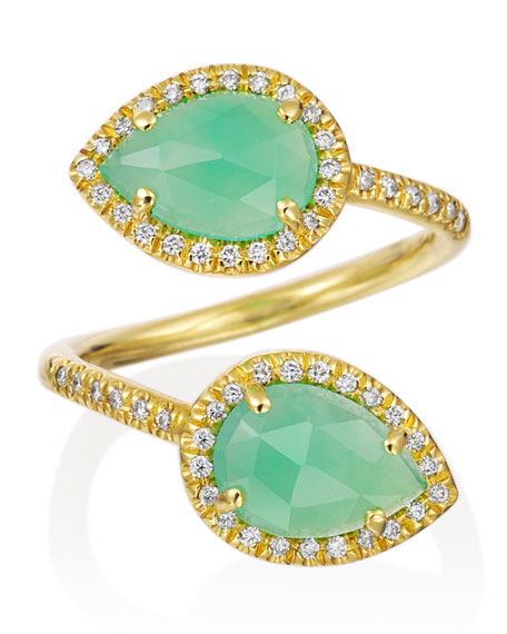 Mischa Pear Chrysoprase & Pave Diamond Bypass Ring
