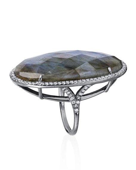 Kate Pave Diamond & Labradorite Ring