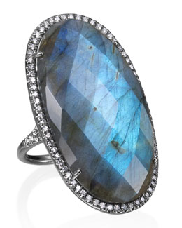 Lauren K Kate Pave Diamond & Labradorite Ring