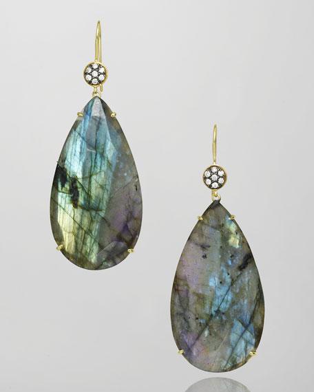 Rani Labradorite & Diamond Teardrop Earrings