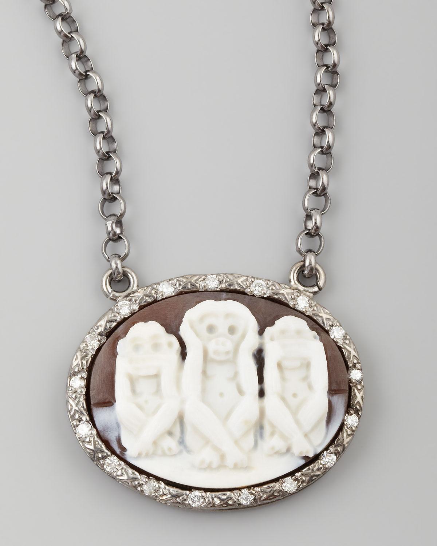 Diamond-Trim Three Wise Monkeys No Evil Cameo Necklace