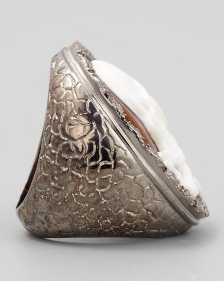 Diamond-Trim Hand-Carved Skull Cameo Ring
