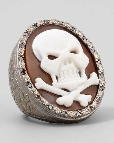 Diamond-Trim Hand-Carved Skull Cameo Ring